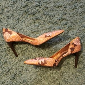Taupe and Rose Floral D'Orsay High Heels Shoes